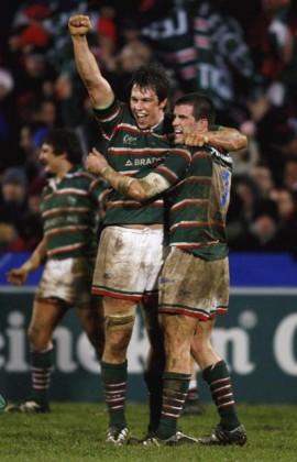 Louis Deacon and Shane Jennings celebrate a famous win