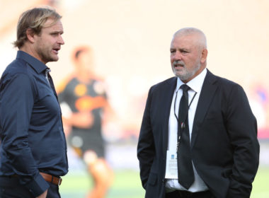 Crusaders coach Scott Robertson and Lions coach Warren Gatland