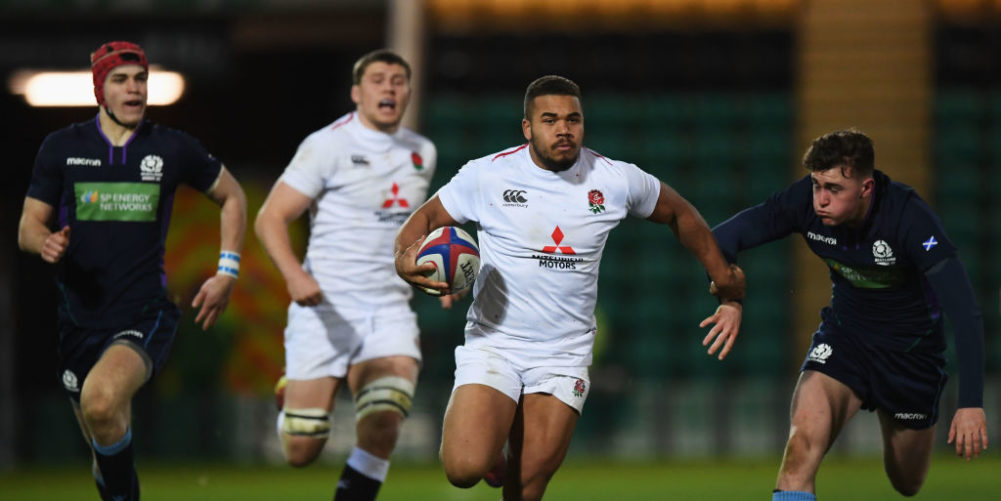 Ollie Lawrence in action for England U20s
