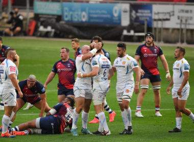 Exeter Chiefs celebrate victory over Bristol Bears