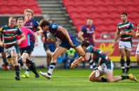 Bristol Bears centre Piers O'Conor breaks away against Leicester