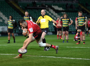 Jacob Stockdale scores for Ulster against Northampton