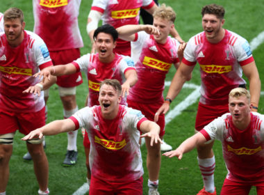 Harlequins celebrate their extra-time win over Bristol Bears